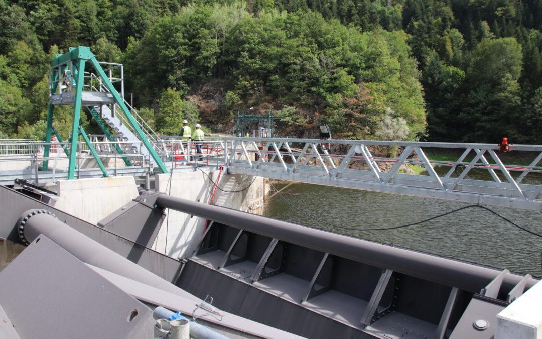 Chantier au barrage des Essarts (Cantal)