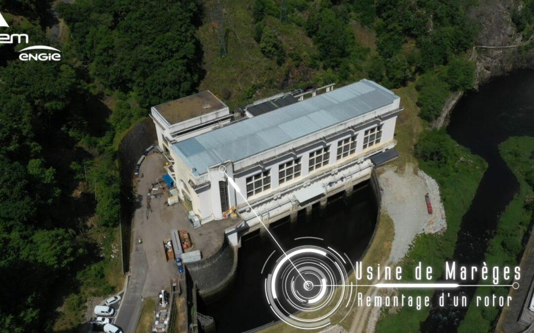 Remise en la place du rotor de 200 tonnes  à l'usine SHEM de Marèges